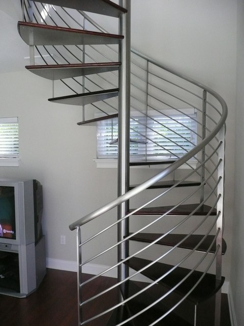 Above And Below   Stainless Steel Spiral With Wood Treads (wood By Others)