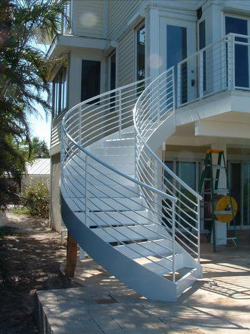 Merveilleux Curved Aluminum Exterior Stair For Tile Treads On Sanibel Island.