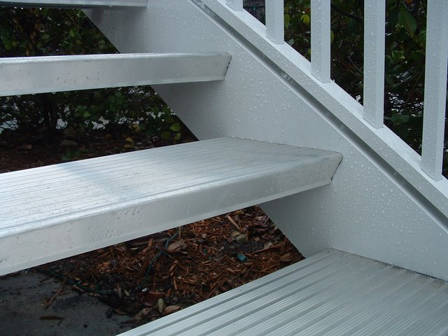 Exterior Aluminum Open Riser Tread Stair On Sanibel,. Including Columns And  Rails For Stairs